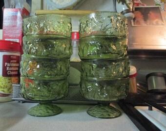 8, 1960s green glass petistaled dessert cups