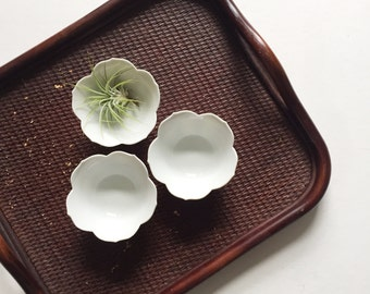 trio of small nesting white lotus flower bowls // stacking // set of 3