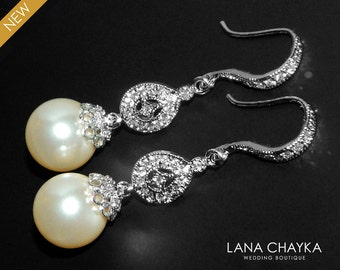 Bridal Chandelier Pearl Earrings Swarovski 10mm Pearl Earrings Ivory Pearl Bridal Earrings Wedding Pearl Earrings Bridal CZ Pearl Earrings