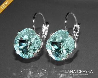 Light Azore Crystal Earrings Swarovski Light Azore Rhinestone Silver Earrings Ice Blue Green Leverback Earrings Bridesmaid Jewelry Weddings
