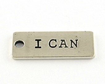Quote Charms Word Charms Silver Word Charms I CAN Charm Motivational Charm Gym Charms Inspirational Charms 10 pieces