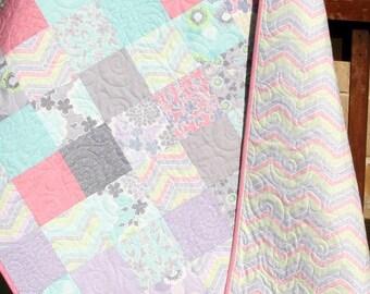 Shabby Chic Baby Girl Quilt, Cottage Style, Pastel Light Pink Aqua Grey White Purple Gray, Child Youth Crib Cot Bedding, True Luck Moda