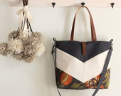 LARGE, Ivory chevron, Gray blossom  tote / diaper bag / shoulder bag.  9 inside pockets. Waterproof poly lining available