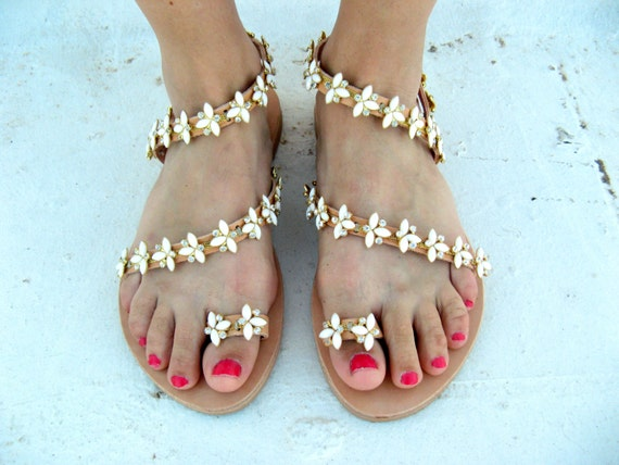 Greek sandals white pearl sandals pearl sandals elegant shoes bridal sandals  wedding sandals  artisanal sandals  handmade sandals