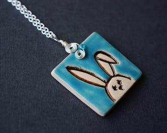 Ceramic Bunny Necklace, Wire Wrapped Necklace, Swarovski Necklace, Teal Necklace, Rabbit Necklace, Blue Necklace