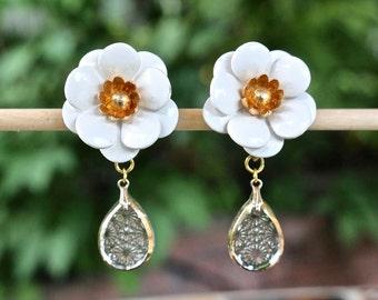 Vintage Enamel Flower Earrings, Clip Earrings, White Peonies, Etched Glass, Gold, Upcycled, Jennifer Jones, OOAK Wedding Bridal Gift for Her