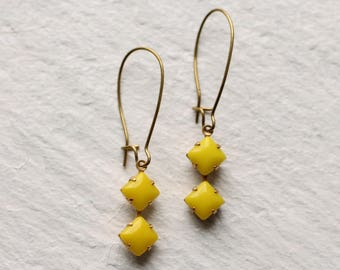 Yellow Deco Earrings ... Square Geometric Vintage Neon