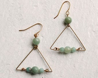 Green Jade Gemstone Earrings ... Geometric Jade Turquoise Green Earrings
