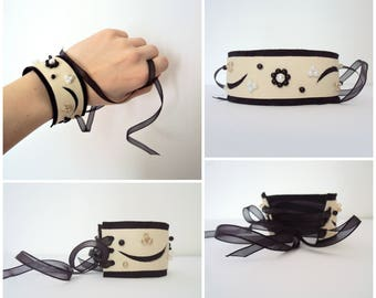 Leather Cuff Bracelet, Pearl Bracelet, Statement Jewelry, Cream, Black, Leather Accessory, Wide Bracelet, Pearl Wristband, Cutout, Suede