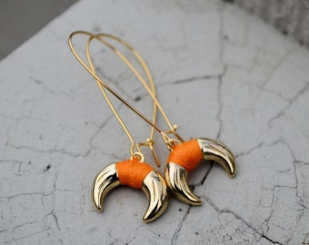 Don't Mess the Bull Orange Horn Earrings-Texan fans, horn jewelry, bridesmaid, spring jewelry, gift idea, birthday, anniversary