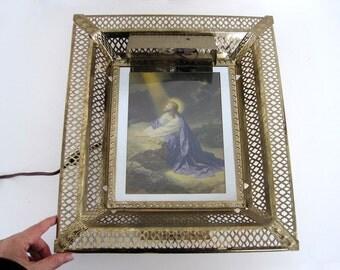 Vintage Metal Picture Frame With Light, Gold Filigree Wall Frame, Desk Frame, Religious Decor Jesus Praying on Rock in Garden of Gethsemane,
