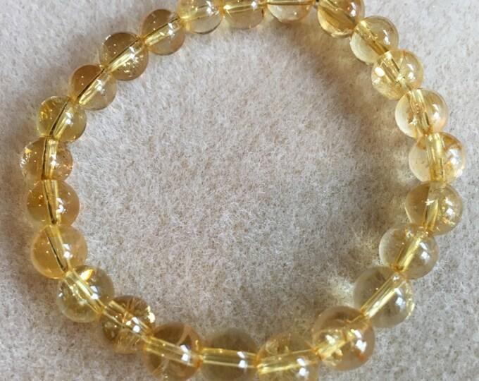 Citrine Bracelet, Citrine Beaded Bracelet, 8mm Bracelet, Stretch Bracelet, Bead Bracelet, Beaded Bracelet, Abundance