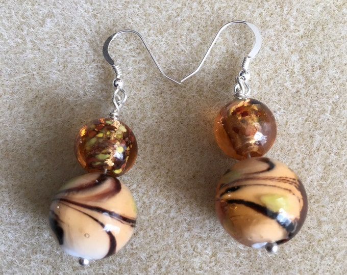 "Brown Amber Gold & White Swirl Art Glass ""Tiger Stripe"" Round Glass Bead Sterling Silver Dangle Drop Earrings"