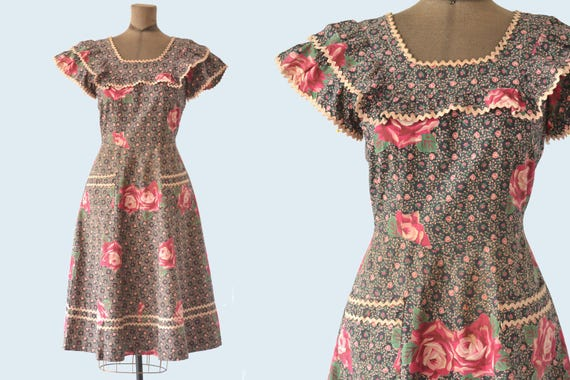 1940s Rose Ruffle Cotton Dress size S/M READY