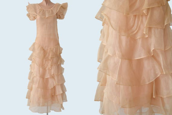 1930s Sheer Pink Ruffle Organza Dress size XS