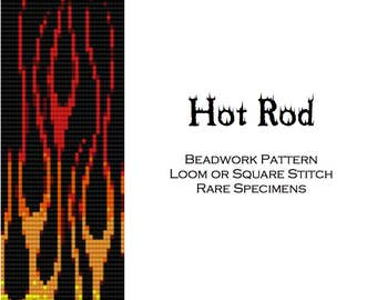 Hot Rod Flames Beadwork Pattern for Loom or Square Stitch - PDF instant download