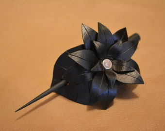 Leather Hair Barrette - Black Lotus