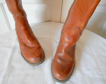 Vintage earthy brown Leather knee high BOOTs