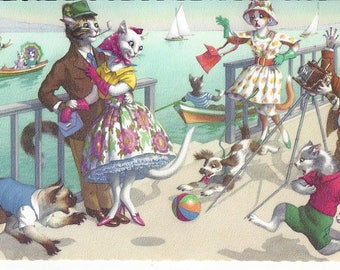 Vintage Alfred Mainzer Anthropomorphic Dressed Cats by Eugen Hartung Postcard Printed in Belgium, 1970s