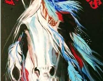 War Pony coloring book horses native american art western