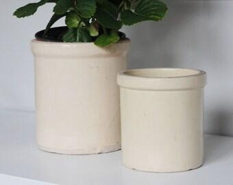 Vintage Salt Glazed White Crock Set - Set of 2 White Glazed Stoneware Crocks - 1/2 Gallon Crock 1/4 Gallon Crock