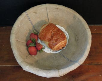 Vintage French Round Woven Bread Basket with Cotton Canvas Liner / Blue Woven in Stripe
