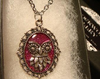 Small Silver Owl Necklace -Fuchsia  Pinkish Glitter Background (2351)