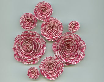 Hot Pink Damask Spiral Rose Paper Flowers