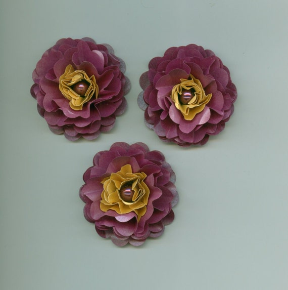 Grape And Gold Classic Handmade Peony Paper Flowers Purple