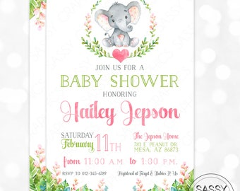 Elephant Girl Baby Shower Invitation Baby Girl Invite Watercolor Elephant Baby Shower Invite Tropical Floral DIY Printable Invite PDF (#184)