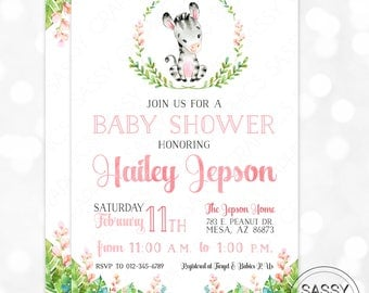 Zebra Baby Shower Invitation Baby Girl Invite Watercolor Zebra Girl Baby Shower Invite Tropical Floral DIY Printable Invite PDF (#185)