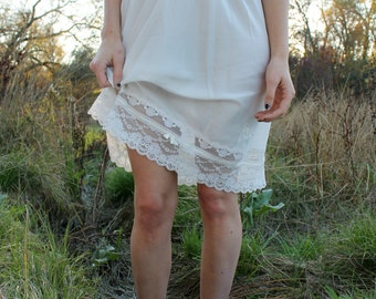 LACE 1970's Half Slip Layers of Lace Christian Dior Ultra Feminine Off White Lingerie Undergarment