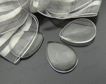 50 Wholesale Bulk Clear Glass Cabochon 25x18mm B1245