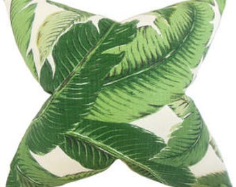pillow cover in swaying palms banana leaf green fabric