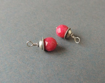 Faceted Ruby Dangles with Bali Silver Bead Caps, Wire Wrapped, Silver Head Pin, 15mm Long, Artisan Handcrafted, Earring Dangle