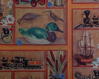 Vintage Steam Engine Ship Duck Decoy Antique Car Auto Gift Wrap Wrapping Paper