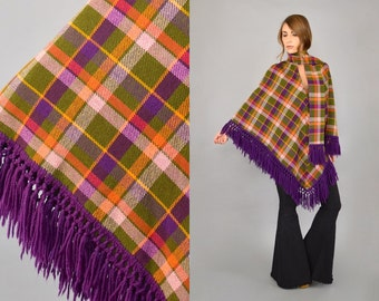 70's Plaid Fringed Poncho