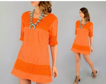 SPRING SALE 70's Orange MEXICAN Dress