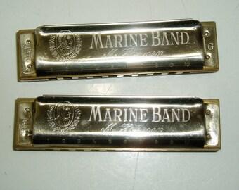 Two M. Hohner Marine Band Harmonicas G