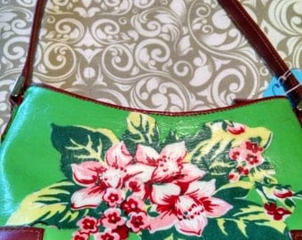 Liz Claiborne purse with vintage tablecloth fabric added