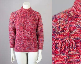 60s Vintage Red Marled Mock Turtleneck Sweater (XS, S)