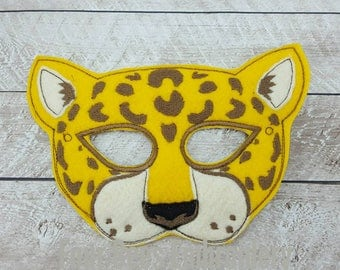 Jaguar Embroidered felt pretend play mask costume child size