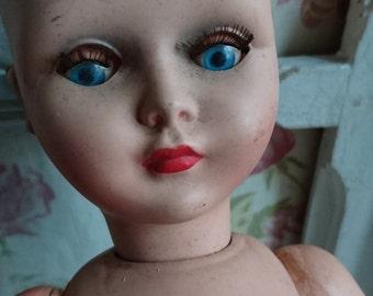 Sweet vintage French timeworn BELLA doll 1960s ATTIC FIND - restoration project