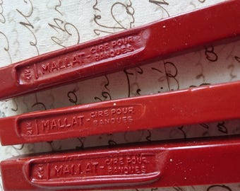 2 Large antique French sticks 1930s/40 red sealing wax CIRE MALLAT pour banques.