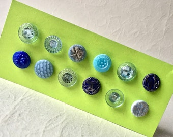 12 Blue Vintage Glass Buttons in Assorted Designs for Crafts and Sewing