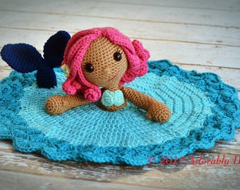 Mermaid Lovey, Mermaid Doll, Security Blanket, Blankie, MADE TO ORDER