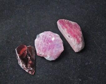 Three (3) Freeform, Natural Rough Cabochons, Rhodolite Garnet, Pink Sapphire, Ruby, Corundum, Pendants, Jewelry, Gemstones, 30x10–25x10mm