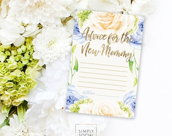 INSTANT DOWNLOAD BABY Shower Advice Card - Blue Flower Rose Hydrangea Baby Shower Printable Advice for the New Mommy Mom to be