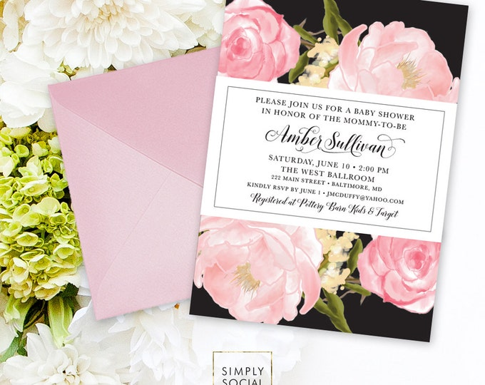 Pink Peony Baby Shower Invitation - Personalized Custom Floral Flowers Blush Modern Calligraphy Botanical Romantic Printable Party Invite