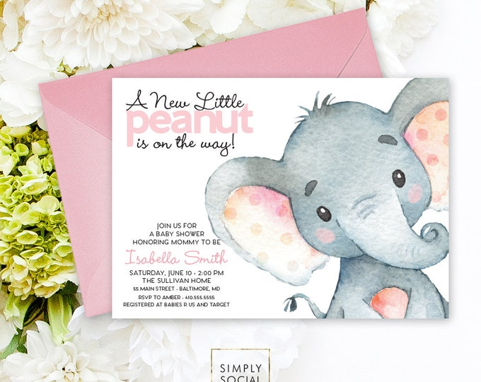 Pink Elephant Baby Shower Invitation - It's a Girl Watercolor Elephant Modern Baby Shower Pink and Grey Little Peanut Printable